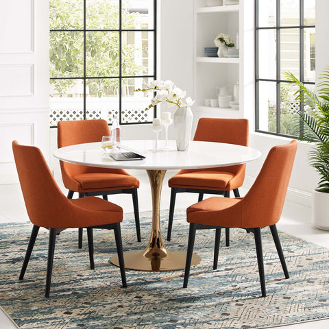 LIPPA ROUND DINING TABLE IN ROSE GOLD AND WHITE TOP IN MANY SIZES