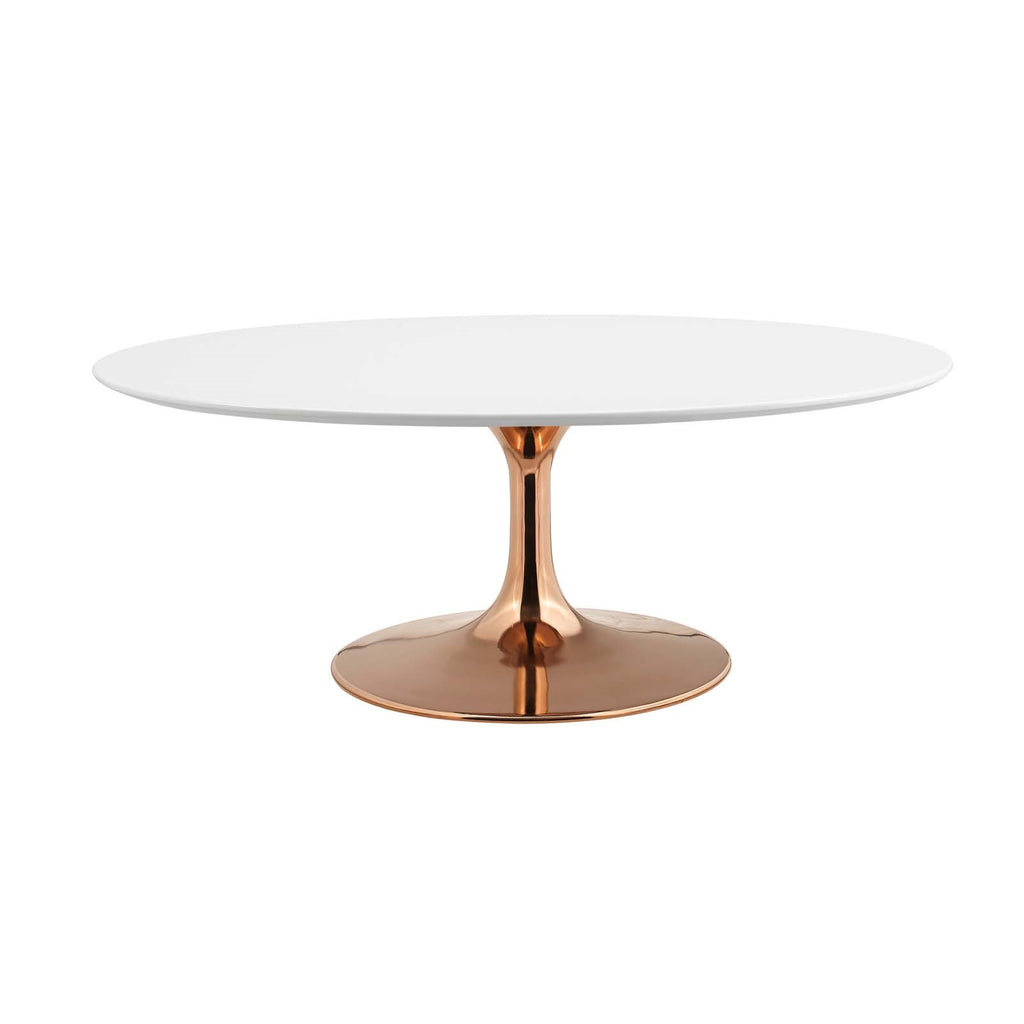 "Lippa 42"" Oval-Shaped Coffee Table in Gold Rose and White Top"