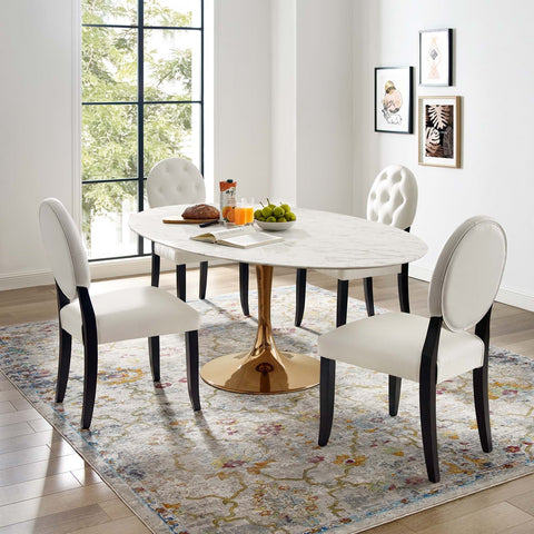 LIPPA OVAL DINING TABLE IN ROSE GOLD AND WHITE FAUX MARBLE TOP