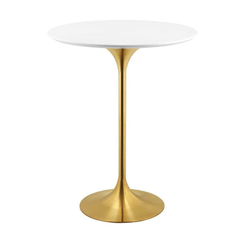 "Lippa 28"" Round Bar Table In Gold Finish And White Top"