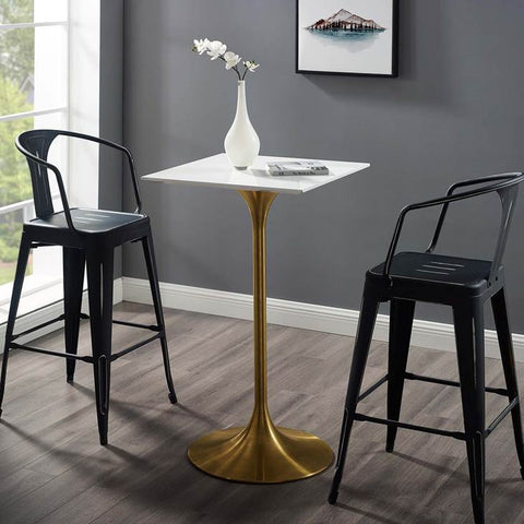 "LIPPA 28"" SQUARE BAR TABLE IN GOLD FINISH AND WHITE TABLE"