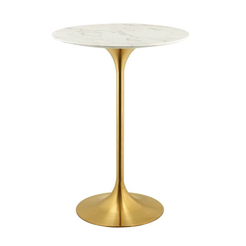 "Lippa 28"" Round Bar Table In Gold Finish And Artificial White Marble Top"