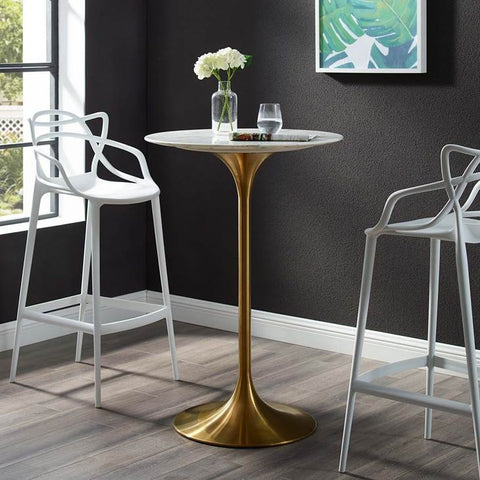 "LIPPA 28"" ROUND BAR TABLE IN GOLD FINISH AND FAUX WHITE MARBLE TOP"