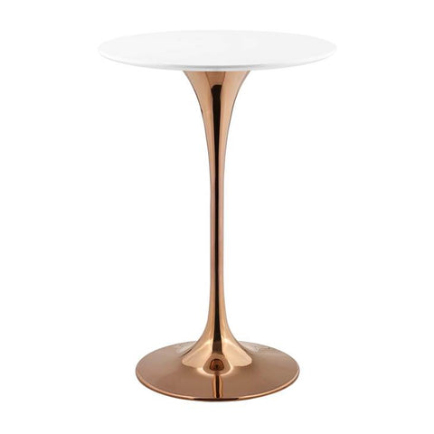"Lippa 28"" Round Bar Table In Rose Gold And White Table Top"