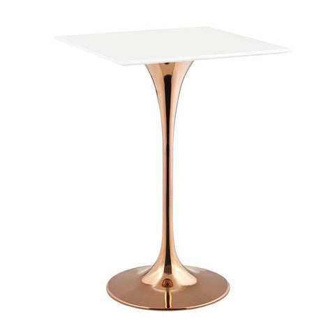 "Lippa 28""Square Bar Table in Rose Gold and White Top"