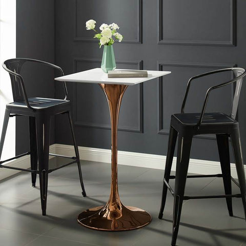 "LIPPA 28"" SQUARE BAR TABLE IN ROSE GOLD AND WHITE TOP"
