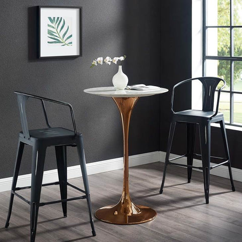 "LIPPA 28"" ROUND BAR TABLE IN ROSE GOLD AND WHITE FAUX MARBLE TOP"