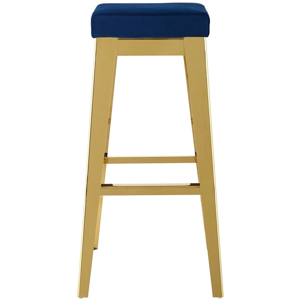 Arrive Gold Stainless Steel Performance Velvet Bar Stool In Gold Navy Or Black