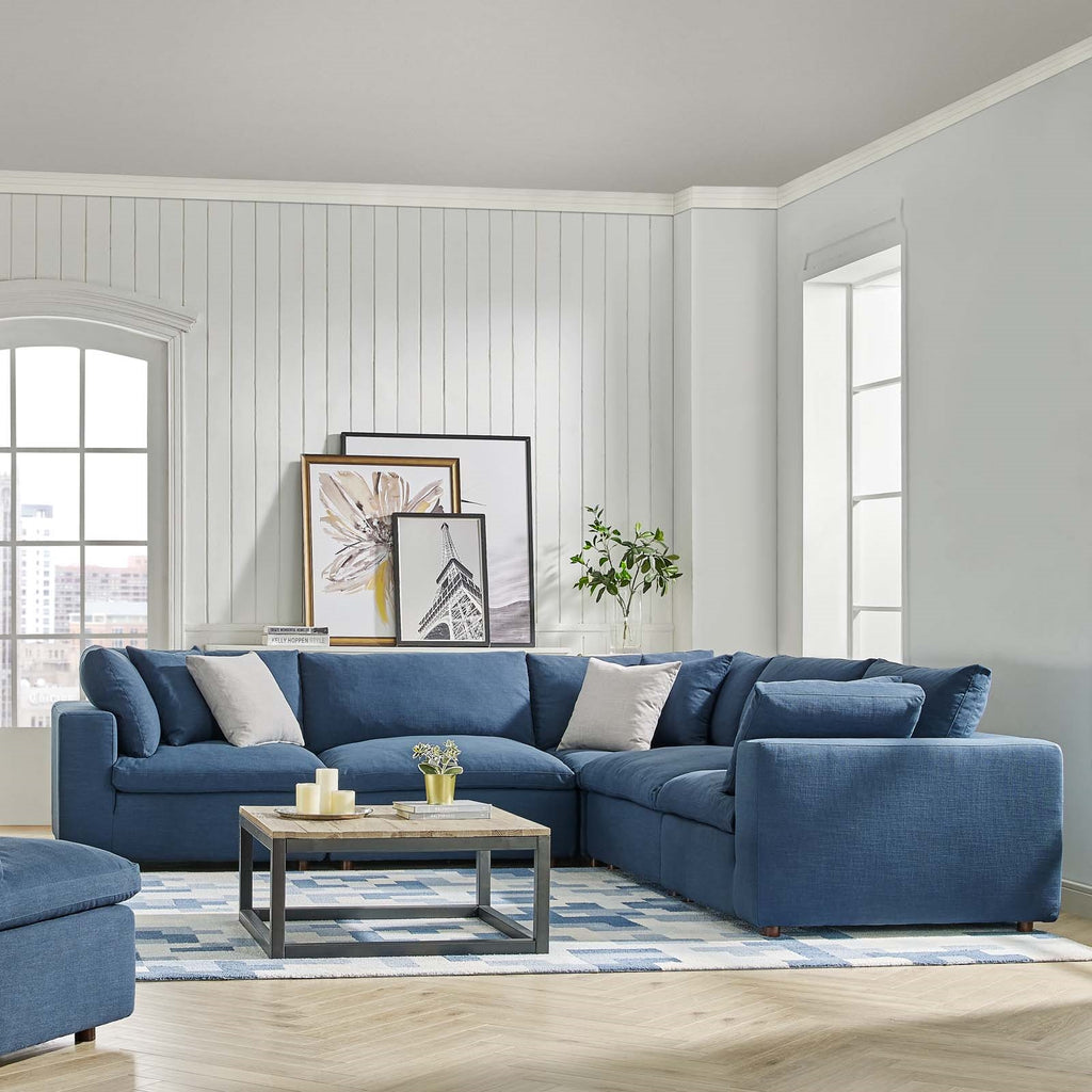 Commix Down Filled Overstuffed 5 Piece Sectional Sofa Set In MANY COLORS