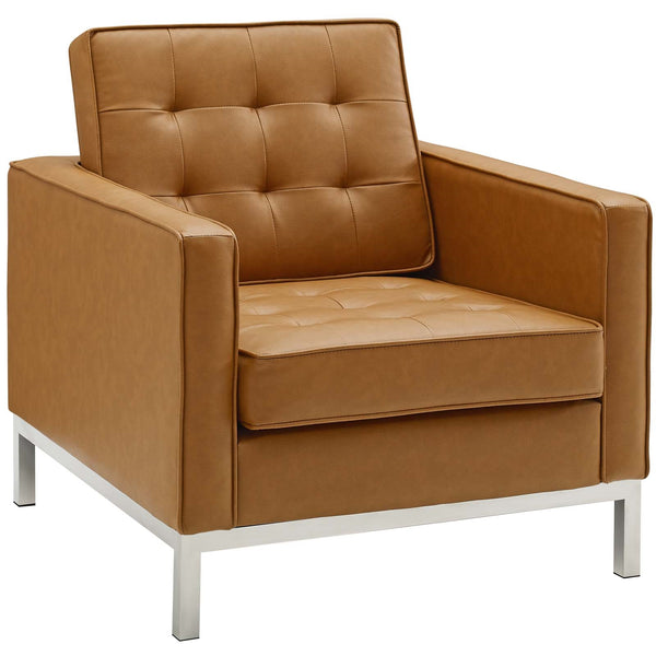 Upholstered Faux Leather Armchair In Many Colors