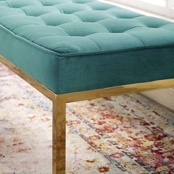 Loft Gold Stainless Steel Leg Large Performance Velvet Bench In Gold Gray, Navy, Teal