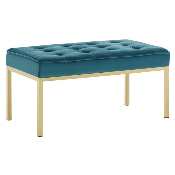 Loft Gold Stainless Steel Leg Medium Performance Velvet Bench In Gold Gray, Navy, Teal