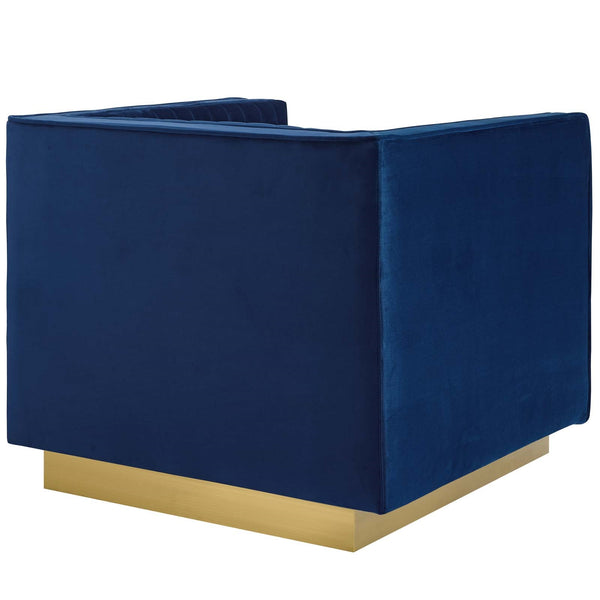 Sanguine Vertical Channel Tufted Accent Performance Velvet Armchair In GRAY OR NAVY
