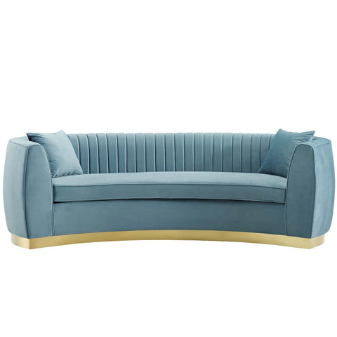ENTHUSIASTIC Vertical Channel Tufted Curved Performance Velvet Sofa in Many Colors
