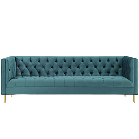 Delight Tufted Button Performance Velvet Sofa In Gray, Navy and Sea