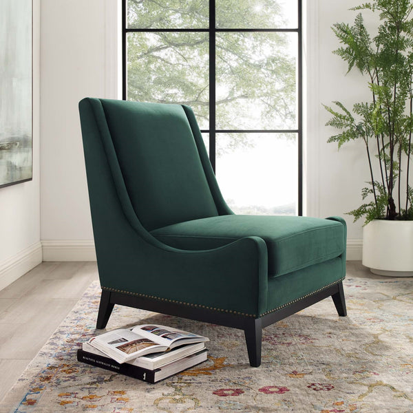 Confident Accent Upholstered Performance Velvet Lounge Chair in Green, Gray, or Navy