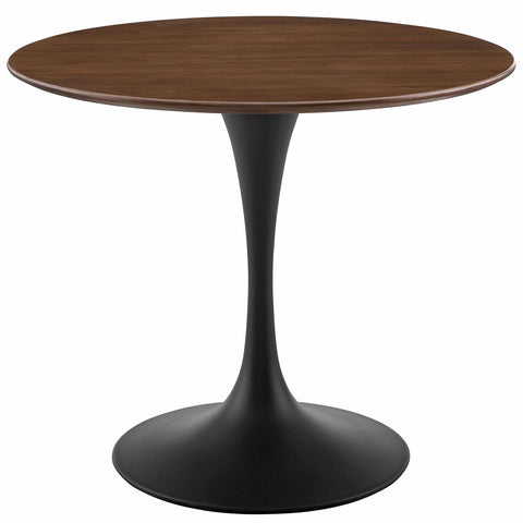 "Lippa 36"" / 47"" Round Walnut Dining Table In Black Walnut"