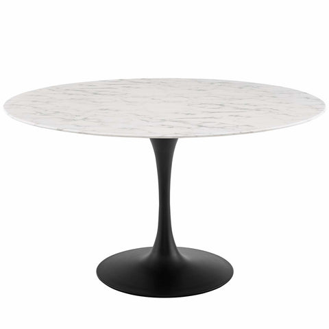 "Lippa Round Artificial Marble Dining Table In Black White 28"", 36"", 40"", 47"", 54"", 60"""