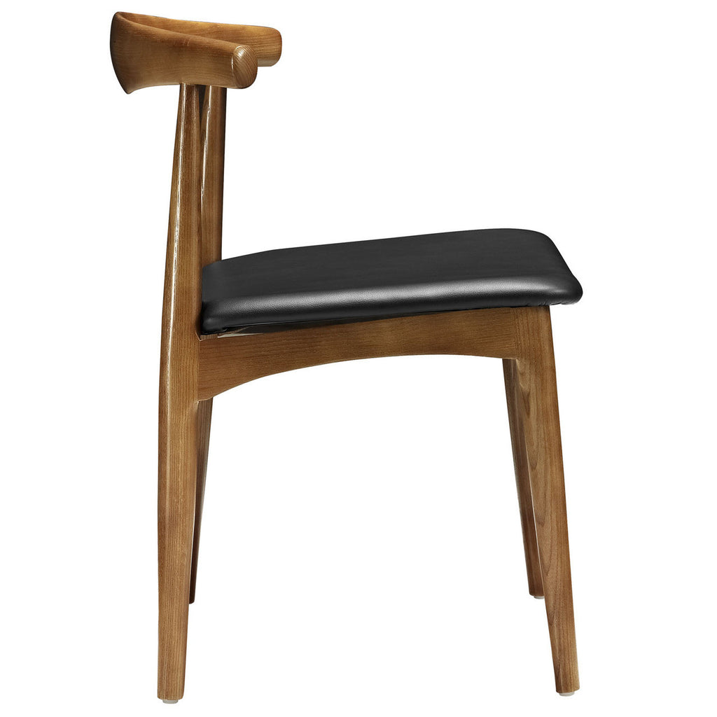 ... Ch20 Hans Wegner Style Elbow Dining Side Chair With Faux Leather Seat  ...