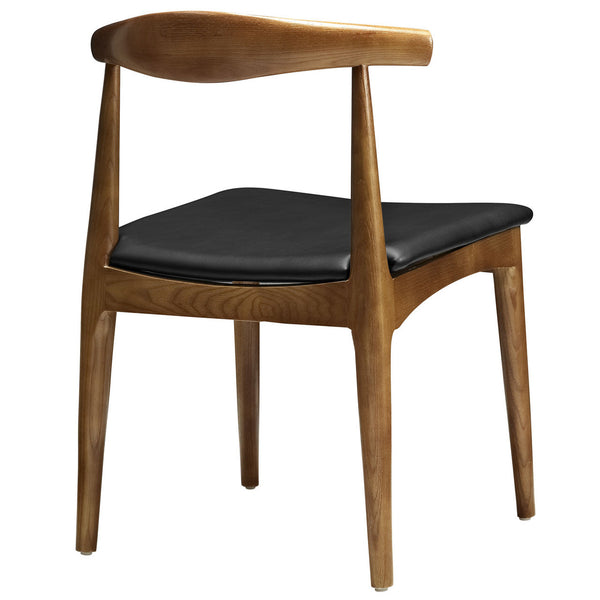 ch20 Hans Wegner Style Elbow Dining Side Chair with Faux Leather Seat