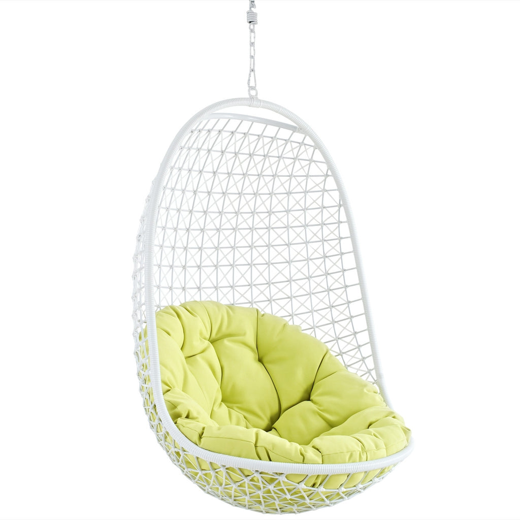 ... Nest Two Outdoor Patio Swing Chair In White Green ...