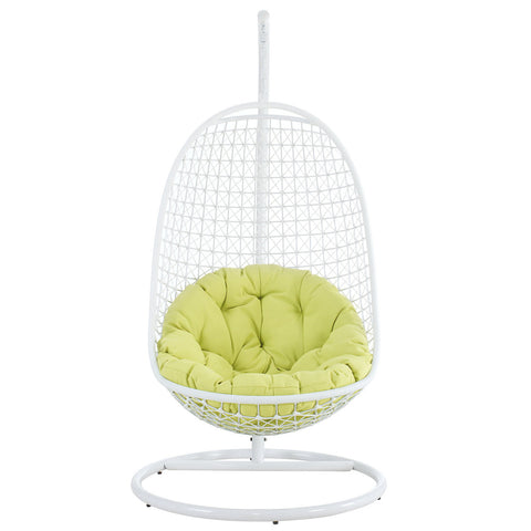 Nest Two Outdoor Patio Swing Chair in White Green