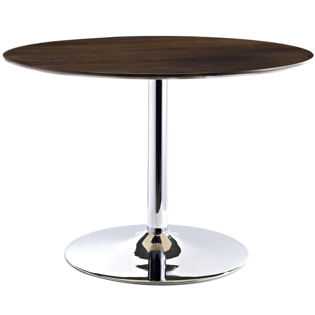 "43"" Round Saarrinen Style Tulip Table with Chrome Base and Walnut Top"