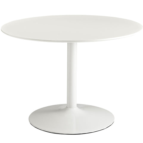 "43"" Round Saarrinen Style Tulip Table with White Glossy Aluminum Base and Laminate Top"