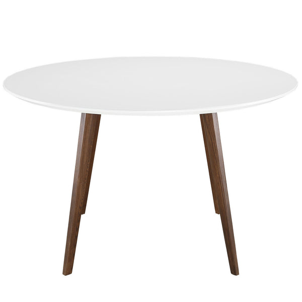 "Risom Style 47"" Round Dining Table with White Top and Walnut Finish Legs"