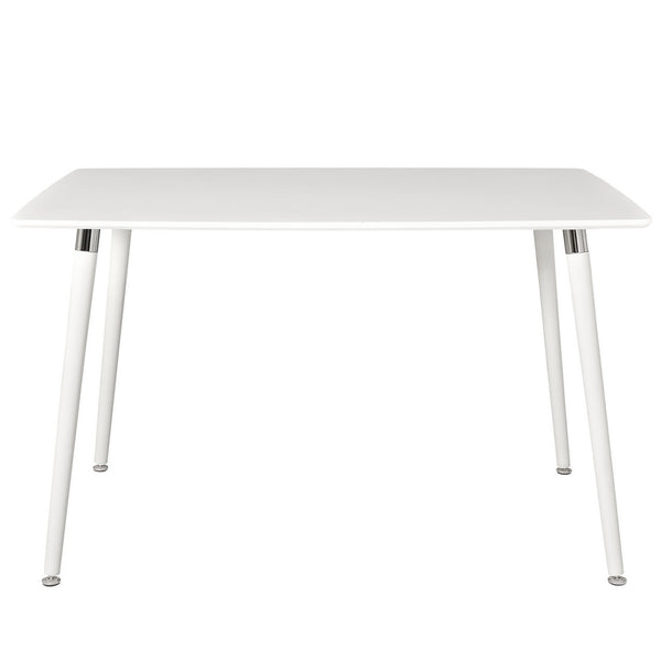 "Nelson Style 47"" x 30"" Dining Table with White Top White Wood Legs"