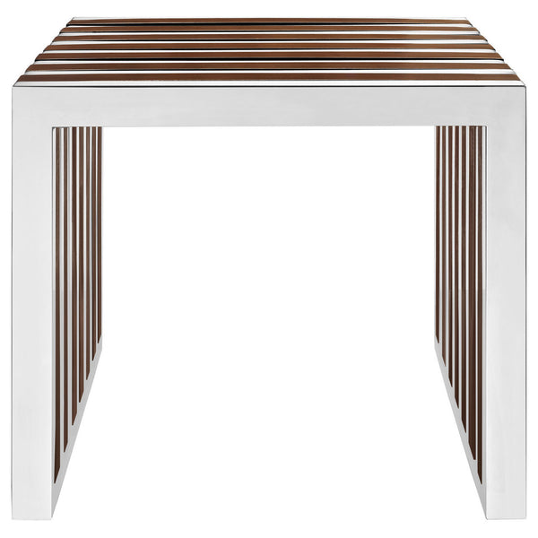Amici Style Stainless Steel Side Table or Small Bench with Wood Inlays