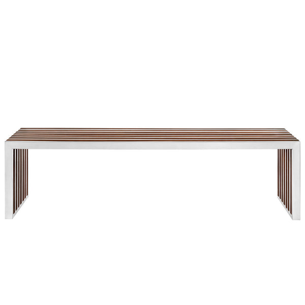 "Amici Style Stainless Steel 60"" Bench with Wood Inlays"