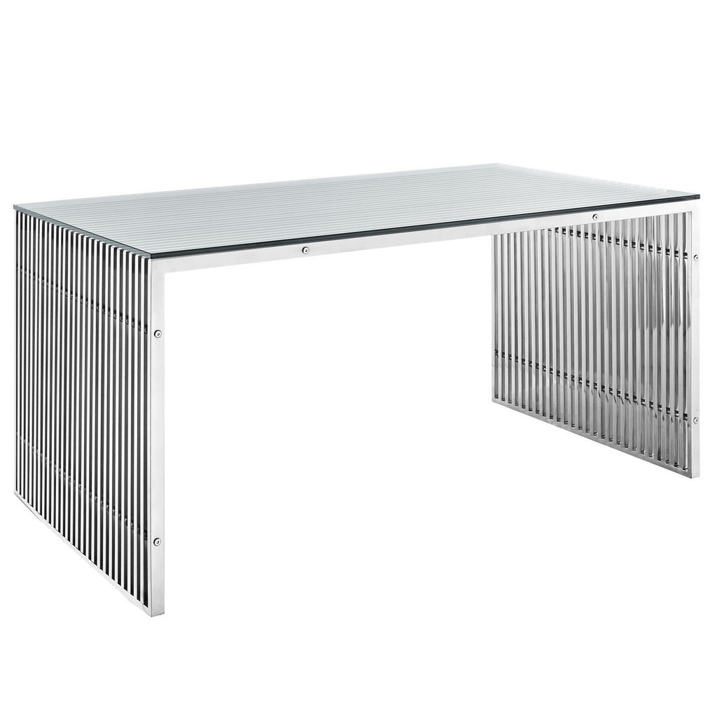 "Amici Style Stainless Steel 59"" x 32"" Dining Table  in Silver Finish"