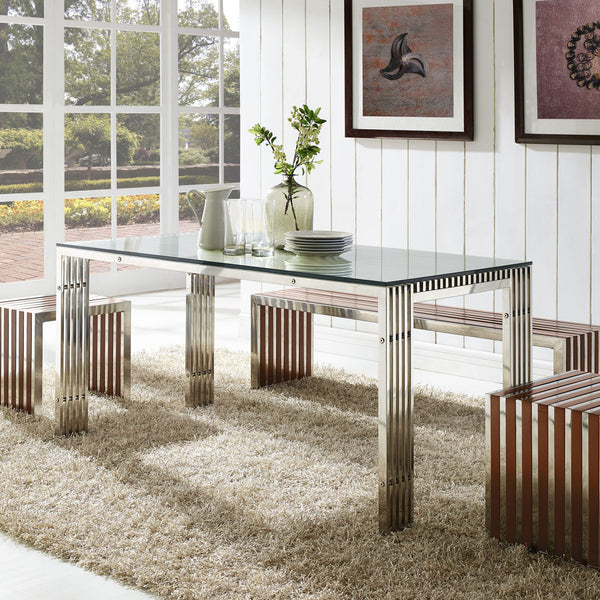 "Amici Style Stainless Steel 59"" x 32"" Dining Table in Silver Finish Exposed Legs"