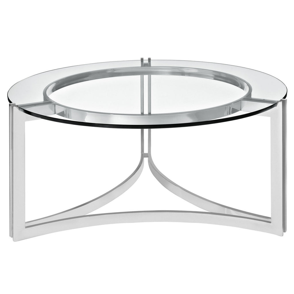 "Contemporary Coffee Table in 32"" Round Stainless Steel and Clear Glass Top"