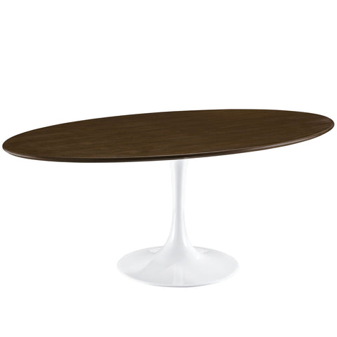 Oval Saarinen Style Tulip Table Dark Walnut Top with White Base MANY SIZES