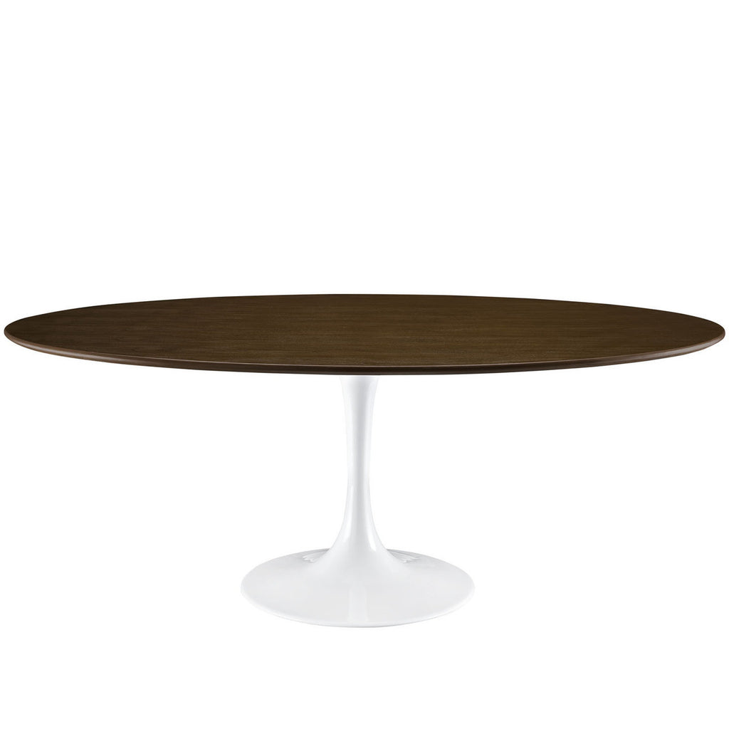 Oval Saarinen Style Tulip Table Dark Walnut Top With White Base MANY - Tulip table sizes