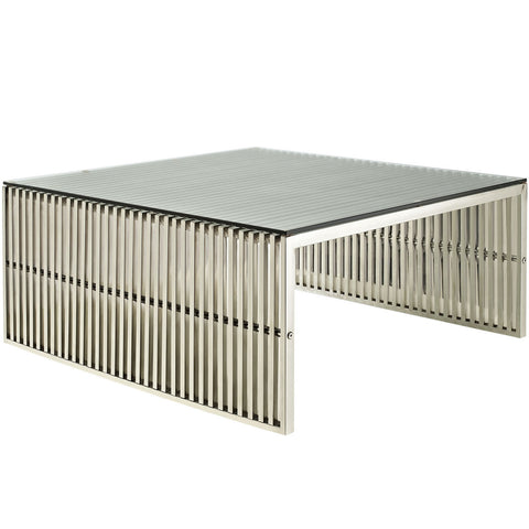 "Gridiron 39"" Square Coffee Table in Stainless Steel with Glass Top"