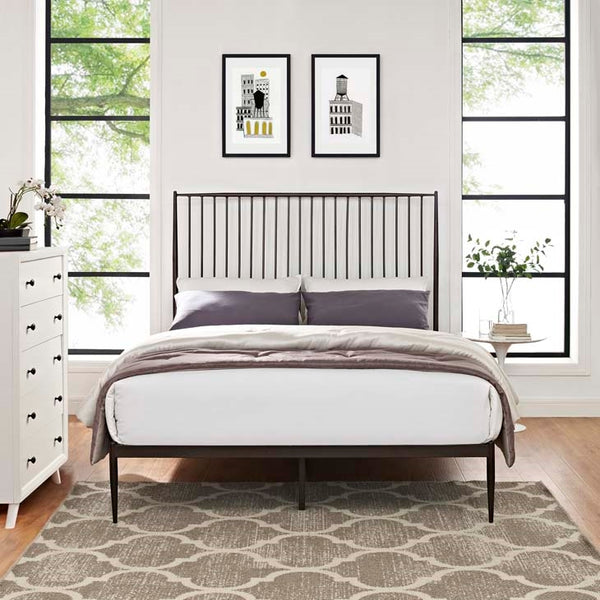 ANNIKA QUEEN PLATFORM BED IN GRAY, BROWN OR WHITE
