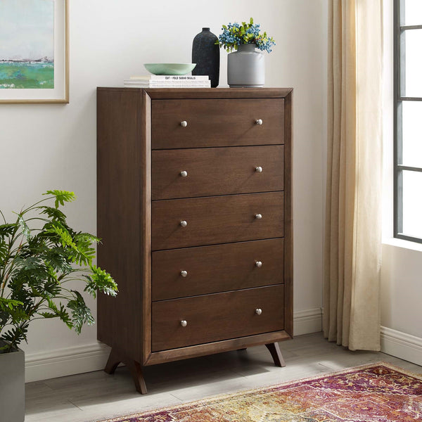 PROVIDENCE FIVE-DRAWER CHEST IN WALNUT or CAPPUCINO
