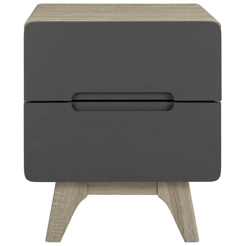 Origin Wood Nightstand or End Table in Natural + Gray