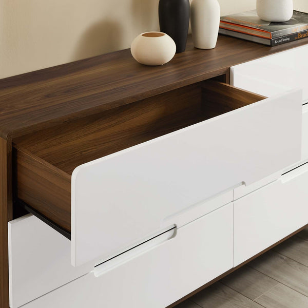 Origin Six-Drawer Wood Dresser or Display Stand in Walnut + White