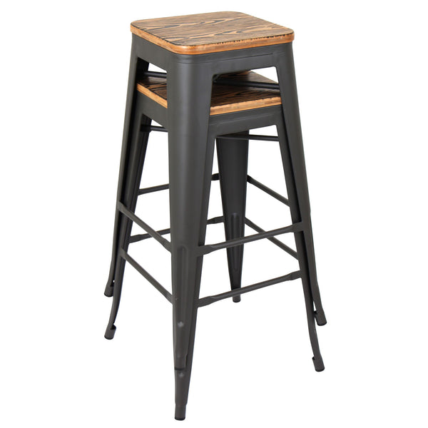Oregon Stackable Barstool - Set Of 2 Medium Brown or Espresso