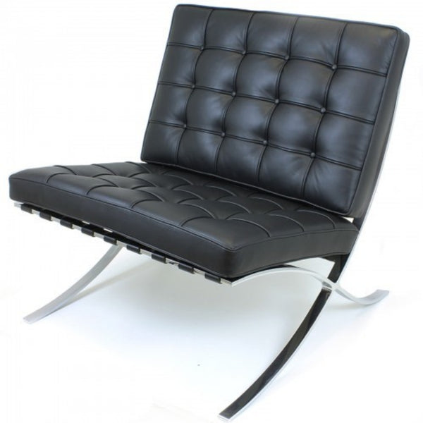 MCM Classics Italian Top Grain Leather Chair Black, White or Brown Barcelona Style