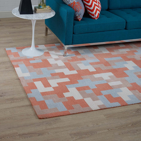 ANDELA INTERLOCKING BLOCK MOSAIC AREA RUG IN MULTICOLORED CORAL AND LIGHT BLUE IN 2 SIZES