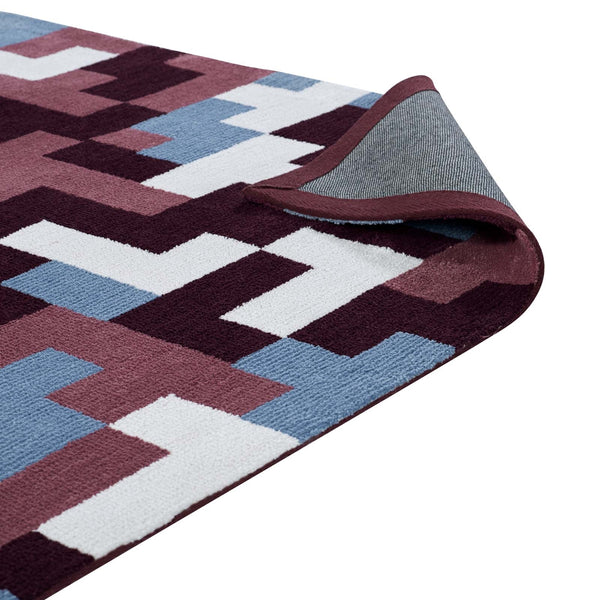 ANDELA INTERLOCKING BLOCK MOSAIC AREA RUG IN MULTICOLORED RED AND LIGHT BLUE IN 2 SIZES