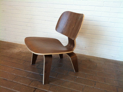 Eames Style Molded Plywood Lounge Chair in Black Blue Red Natural Walnut Wenge