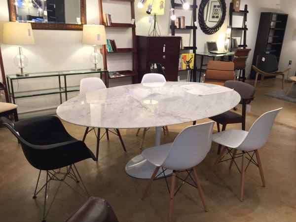White Carrara Marble Tulip Dining Table Aluminum Base Saarinen Style Oval or Round MANY SIZES