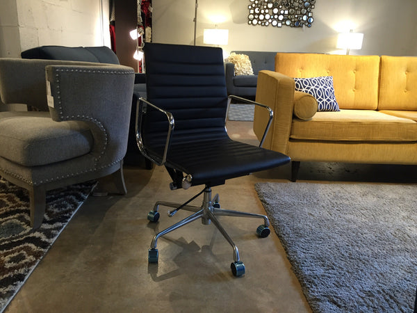 Premier Eames Style Ribbed Leather Management Executive Office Chair