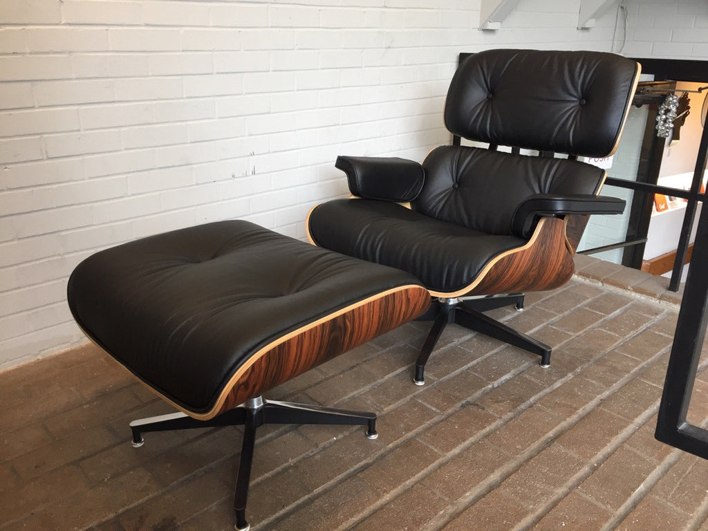 eames style top grain black aniline leather lounge chair and ottoman santos palisander wood veneers with rubber shock mounts not herman miller